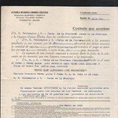 Documentos antiguos: CONTRATO DE PUBLICIDAD. LA FAROLA MECANICA - LUMINOSA - GIRATORIA Y VALDESPINO. GIJON. 1934. Lote 43305071