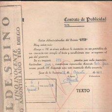 Documentos antiguos: CONTRATO DE PUBLICIDAD. DIARIO AYER Y VALDESPINO. ADJUNTA LA PUBLICIDAD. JEREZ, CADIZ. 1959. Lote 43305331