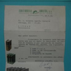 Documentos antiguos: DOCUMENTO EDITORIAL AMALTEA - 1962 - VENTA - ENCICLOPEDIA. Lote 43319508