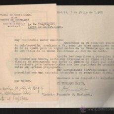 Documentos antiguos: COFRADIA DE SANTA MARTA DE LOS GREMIOS DE HOSTELERIA. MADRID. CAMAREROS. CARTA Y CUADERNILLO. VER. Lote 43327188