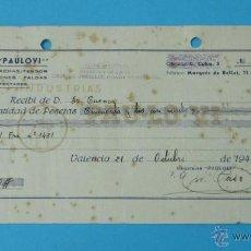 Documentos antiguos: RECIBO INDUSTRIAS PAULOVI. FÁBRICA DE PERCHAS. 1946. Lote 43337205