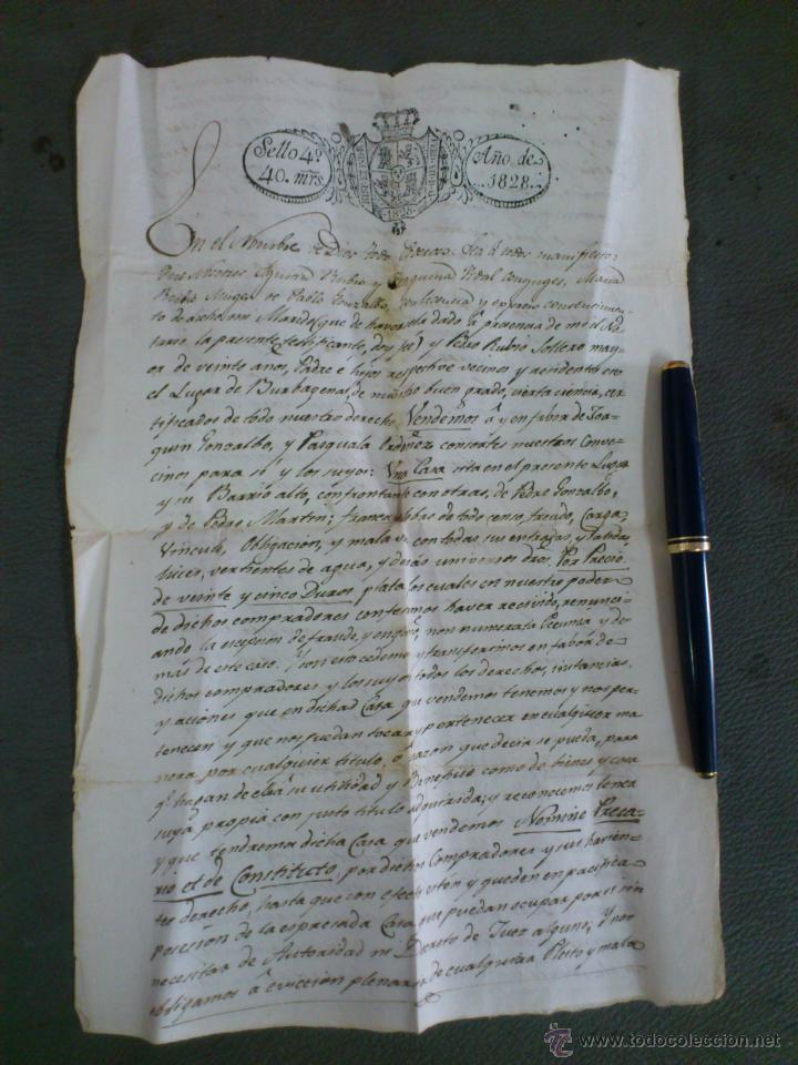 BURBÀGUENA, TERUEL, AÑO 1828. COMPRA VENTA DE UNA CASA, DOCUMENTO 2 HOJAS (Coleccionismo - Documentos - Otros documentos)