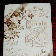 Documentos antiguos: PROGRAMA DEL BAILE, 15 FEBRERO 1890, CIRCULO DE LA UNION MERCANTIL E INDUSTRIAL DE MADRID, MIDE 10 X. Lote 43546081