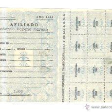 Documentos antiguos: HOJA CARNET AFILIADO FALANGE ESPAÑOLA TRADICIONALISTA Y DE LAS J.O.N.S. 1958 CON CUPONES . Lote 43793396