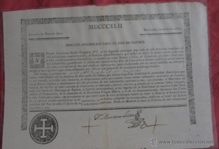 INDULTO APOSTOLICO PARA EL USO DE CARNES 1842 (Coleccionismo - Documentos - Otros documentos)