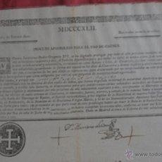 Documentos antiguos: INDULTO APOSTOLICO PARA EL USO DE CARNES 1842. Lote 43831490