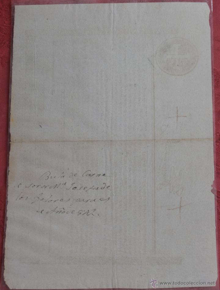 Documentos antiguos: INDULTO APOSTOLICO PARA EL USO DE CARNES 1842 - Foto 2 - 43831490