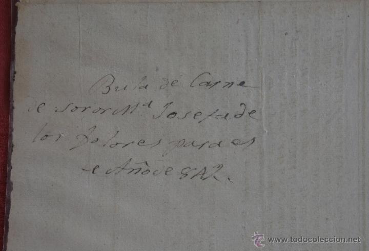Documentos antiguos: INDULTO APOSTOLICO PARA EL USO DE CARNES 1842 - Foto 3 - 43831490