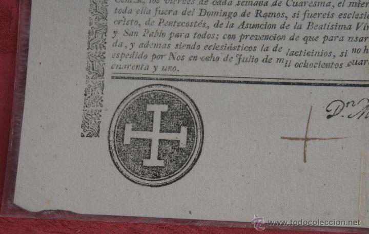 Documentos antiguos: INDULTO APOSTOLICO PARA EL USO DE CARNES 1842 - Foto 5 - 43831490