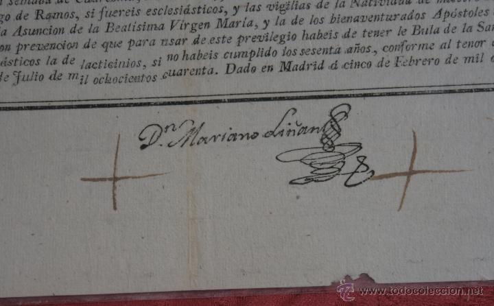 Documentos antiguos: INDULTO APOSTOLICO PARA EL USO DE CARNES 1842 - Foto 6 - 43831490
