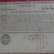 Documentos antiguos: INDULTO APOSTOLICO PARA EL USO DE CARNES 1846. Lote 43832064