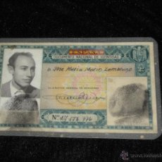 Documentos antiguos: DNI - DOCUMENTO NACIONAL DE IDENTIDAD - EXPEDIDO EN SEVILLA EN 1952 - COLOR VERDE - RARO. Lote 43833390