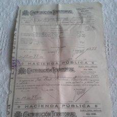 Documentos antiguos: CONTRIBUCION TERRITORIAL. HOJITA CON 3 RECIBOS. AÑO 1936. . Lote 43845998