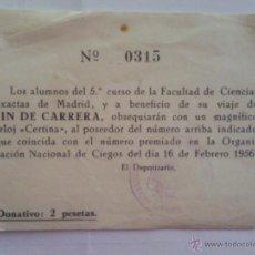 Documentos antiguos: BOLETO SORTEO FIN DE CARRERA, FEBRERO 1956. Lote 43892202