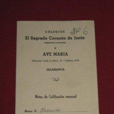 Documentos antiguos: BOLETIN DE NOTAS DE CALIFICACION MENSUAL DE LOS AÑOS 50 - COLEGIO SAGRADO CORAZON JESUS - SALAMANCA. Lote 43935936