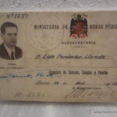Documentos antiguos: CARNET DE IDENTIDAD - MINISTERIO DE OBRAS PUBLICAS SUBSECRETARIA. 1956 - MADRID EPOCA FRANCO. Lote 44044714