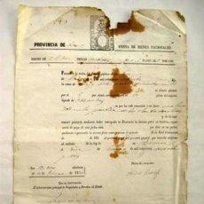 Documentos antiguos: ANTIGUO DOCUMENTO : PROVINCIA DE TERUEL, VENTA DE BIENES NACIONALES. 1876. Lote 44189733
