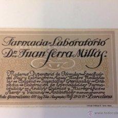 Documentos antiguos: FARMACIA LABORATORIO TARJETA. Lote 44257535