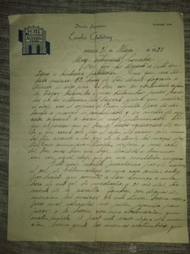 GUERRA CIVIL. ENRIQUE MARTINAVARRO. CARTA COMERCIAL DEL HOTEL ROMANO DE MÉRIDA 1937 (Coleccionismo - Documentos - Otros documentos)