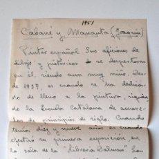 Documentos antiguos: HOJA A MANO ORIGINAL DE ANTIGUA EDITORIAL, DATOS PINTOR DE BARCELONA JOAQUIN CABAÑÉ. Lote 44324979