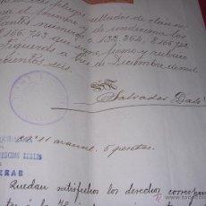 Documentos antiguos: ESCRITURA - FIGUERAS ,AUTORIZADA POR SALVADOR DALI Y CUSI PADRE DEL PINTOR 1906 - FIRMA ORIGINAL. Lote 44357511