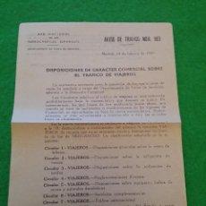 Documentos antiguos: AVISO DE TRAFICO NUMERO 953 DE RENFE FEBRERO DE 1969. Lote 44375764
