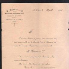Documentos antiguos: CIRCULAR. SOCIEDAD M.KREMER & CIE. EL CAIRO Y ALEJANDRIA. EGIPTO. 1895. Lote 44383742
