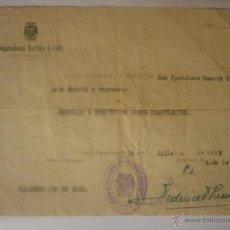 Documentos antiguos: SALVO CONDUCTO FECHA 10 JULIO 1939 DE MADRID A CÁDIZ Y REGRESO. EL DE LA FOTO. Lote 44429227
