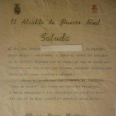Documentos antiguos: 1948 SALUDA DEL ALCALDE A UN VECINO PARA QUE APORTE SUS CONOCIMIENTOS AL MUSEO CIENCIAS NATURALES. Lote 44429547