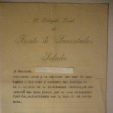 Documentos antiguos: SALUDO DEL DELEGADO LOCAL DEL FRENTE DE JUVENTUDES AL CONSEJERO LOCAL 1956. Lote 44429615