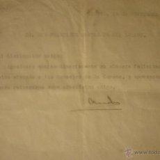 Documentos antiguos: CARTA DEL MINISTRO DE ECONOMÍA NACIONAL 14 NOV 1928.FRANCISCO MORENO ZULETA CONDE DE LOS ANDES. ÚNIC. Lote 44430152