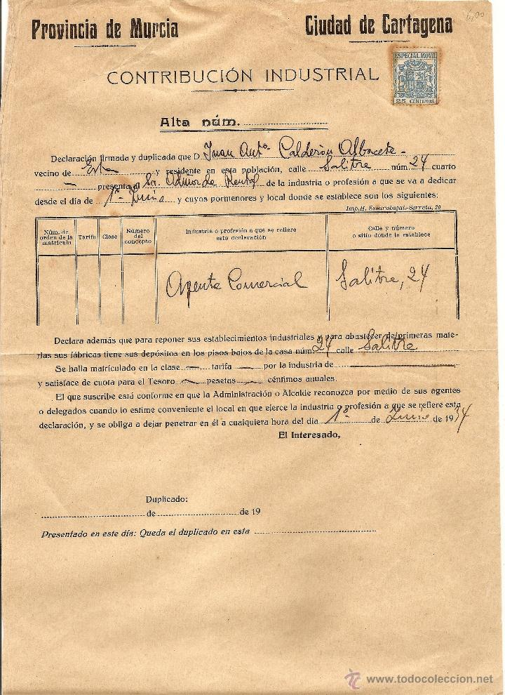 CARTAGENA (MURCIA) - RESGUARDO CONTRIBUCIÓN INDUSTRIAL AÑO 1934 (Coleccionismo - Documentos - Otros documentos)