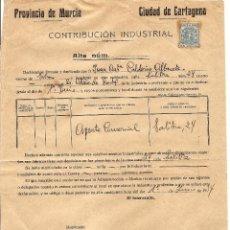 Documentos antiguos: CARTAGENA (MURCIA) - RESGUARDO CONTRIBUCIÓN INDUSTRIAL AÑO 1934. Lote 44446372