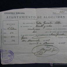Documentos antiguos: AYUNTAMIENTO DE ALGECIRAS RECIBO RENOVACIÓN POR 3 AÑOS DEL NICHO CEMENTERIO MUNICIPAL 1938. Lote 44575230