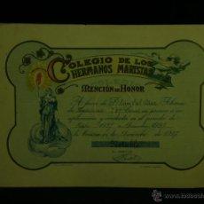Documentos antiguos: DIPLOMA COLEGIO DE LOS HERMANOS MARISTAS MENCIÓN DE HONOR 1º ENSEÑANZA 1927 LA CORUÑA NOTABLE . Lote 44695989