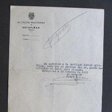 Documentos antiguos: AUTORIZACION PARA SACRIFICAR UN CERDO PARA CONSUMO / ALCALDIA NACIONAL / ESTOPIÑAN 1958 / HUESCA. Lote 44905282