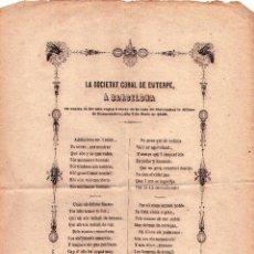 Documentos antiguos: COROS DE JOSEP ANSELM CLAVE AÑO 1859 DE CONCIERTO EN CARNAVAL PARA FONDOS MATERNIDAD BARCELONA. Lote 44907761