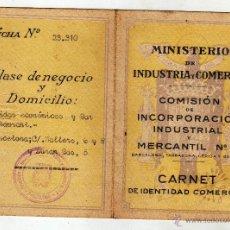 Documentos antiguos: CARNET DE IDENTIDAD COMERCIAL BARCELONA 1941. Lote 44951788