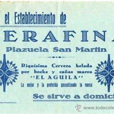 Documentos antiguos: OCTAVILLA BAR CLAVEL. SERAFINA PLAZUELA DE SAN MARTIN. CERVEZA HELADA EL AGUILA. PLASENCIA.. Lote 44987738