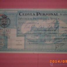 Documentos antiguos: CÈDULA PERSONAL AÑO 1937-DIPUTACIÓN PROV. SEVILLA- AYUNTAMIENTO DE SEVILLA - GUERRA CIVIL. Lote 45172360