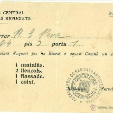 Documentos antiguos: REBUT COMITE CENTRAL REFUGIATS. GUERRA CIVIL. OCTUBRE 1936 GENERALITAT DE CATALUNYA. Lote 45278245