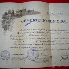 Documentos antiguos: VILANOVA I LA GELTRÚ - 1921 - CEMENTERIO . Lote 45330969