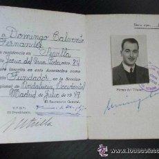 Documentos antiguos: CARNET IDENTIDAD DE LA ASOCIACION NACIONAL DE MEDICOS . MADRID, 1949 . SOCIO FUNDADOR.. Lote 45332695
