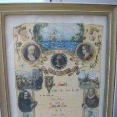 Documentos antiguos: DIPLOMA NATALICIO FRANQUISTA. SEVILLA, 1974 . CON CRISTAL Y MARCO..... 33 X 45 CM. Lote 45332939