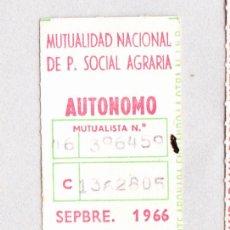 Documentos antiguos: MUTUALIDAD NACIONAL DE PREVISION SOCIAL AGRARIA 1966 .. Lote 45399584
