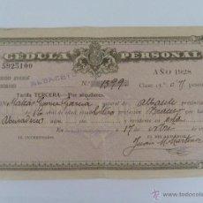 Documentos antiguos: CEDULA PERSONAL ALBACETE 1928 CLASE 13. Lote 45438918