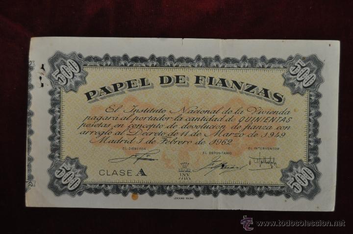 PAPEL DE FIANZAS CLASE A 500 PESETAS INSTITUTO NACIONAL DE LA VIVIENDA 1962 (Coleccionismo - Documentos - Otros documentos)