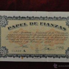 Documentos antiguos: PAPEL DE FIANZAS CLASE A 500 PESETAS INSTITUTO NACIONAL DE LA VIVIENDA 1962. Lote 45474422