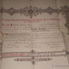 Documentos antiguos: DIPLOMA TITULO DE BACHILLER, INSTITUTO DE BARCELONA, 1928 . Lote 45507908