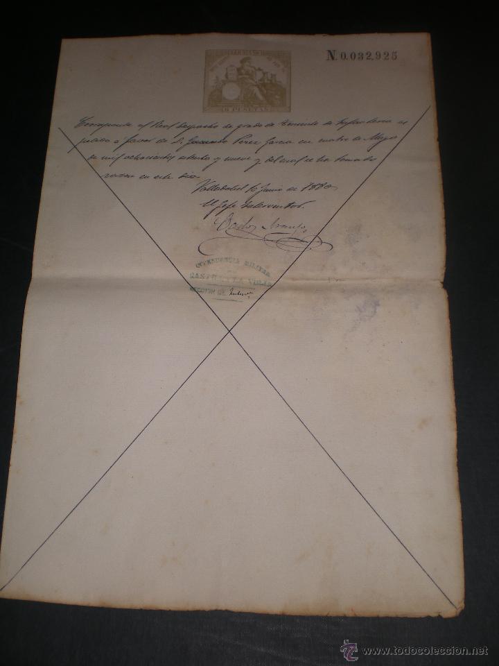 DOCUMENTO CON SELLO TIMBRE O FISCAL, VALLADOLID, 1880 INTENDENCIA MILITAR CASTILLA LA VIEJA (Coleccionismo - Documentos - Otros documentos)